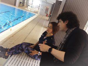 Mayuko Fujikimi con el compositor Cañizares