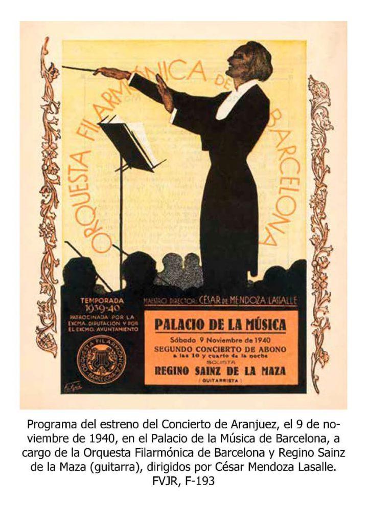 Programa del estreno absoluto del Concierto de Aranjuez en el día 9 de Noviembre de 1940